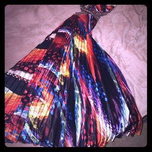 Multi—colored prom dress